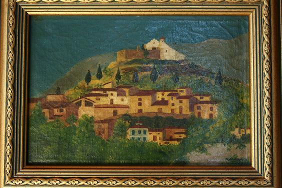 Pintura al oli de Sella. Una de les representacions més antigues que tenim datades sobre el nostre poble. Col·lecció particular (familia Mora)