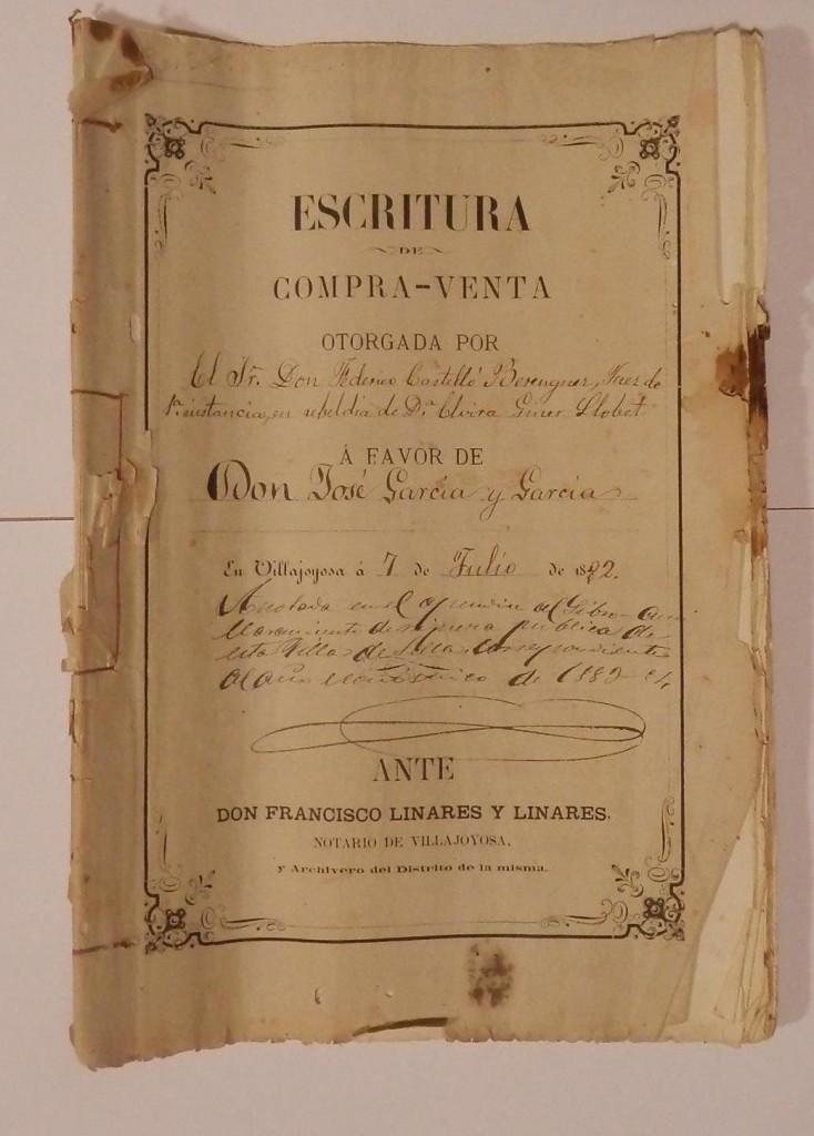 Escriptura signada a la Vilajoiosa el 7 de juliol de 1882