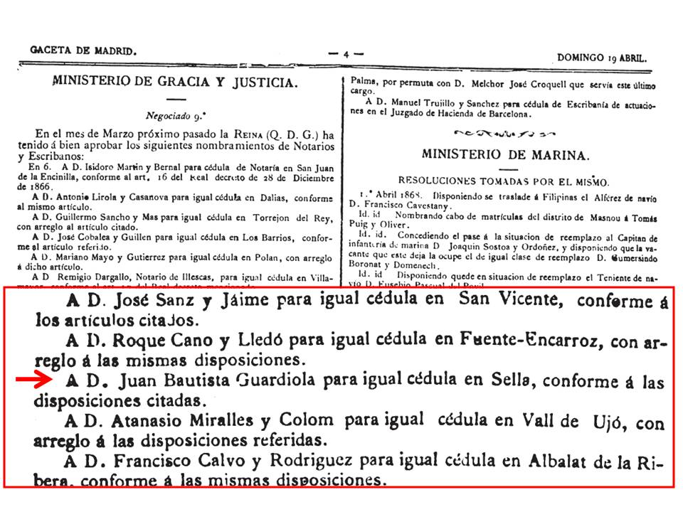 Fragment de la Gaceta de Madrid amb el nomenament de Guardiola