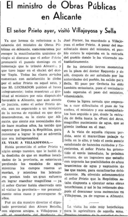 Fragment del periòdic el Luchador, gener de 1933