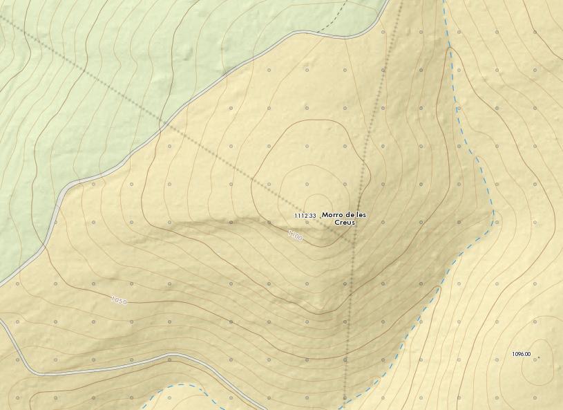 Mapa topogràfic 1:5.000 del ICV. Possiblement la fita que apareix representada als mapes actuals estiga desplaçada respecte a l'original, que estaria a la part culminant del Morro