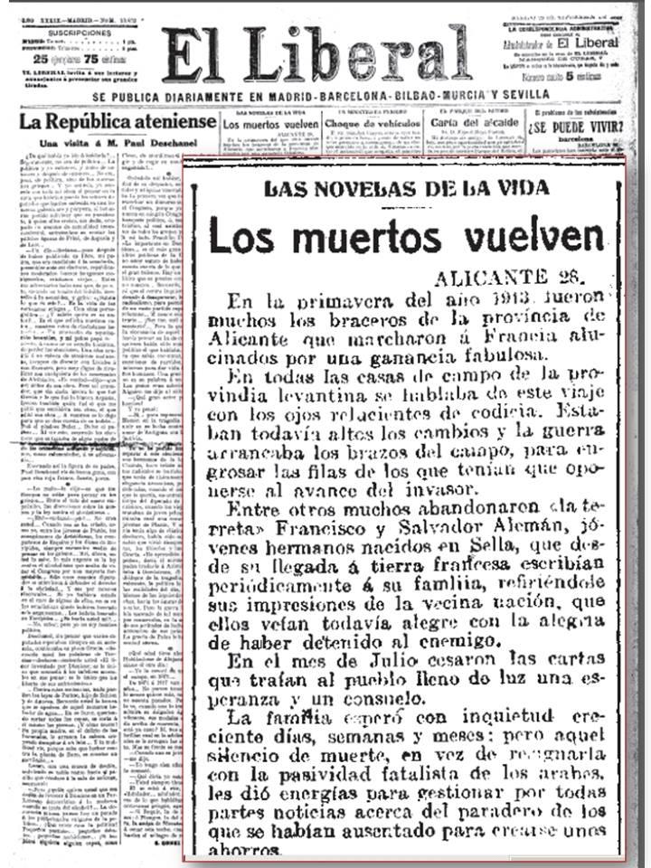 Exemplar del diari El Liberal on es descriu la història dels Alemany