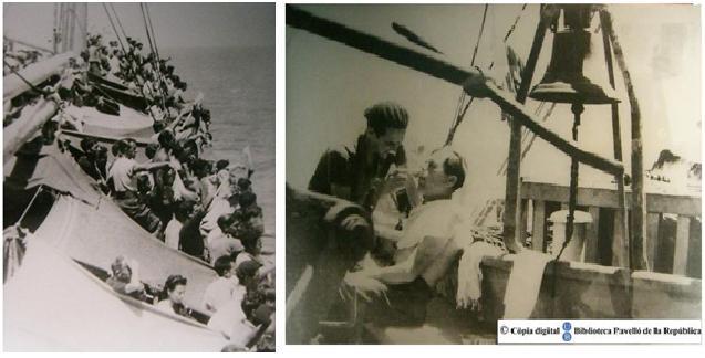Eixida des de França del Sinaia i escena quotidiana al vaixell. Biblioteca Pavelló de la República.