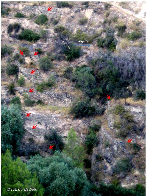 Apunt sobre les terrasses visitades. Les fletxes rojes assenyalen la presència d'escales (foto de 2003)
