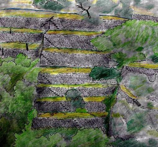 Apunt ons s'aprecia les escales que baixen fins el riu, hui cobertes per la vegetació