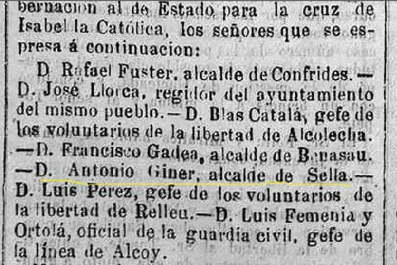 Fragment del diari liberal Eco de Alicante. 5 d'agost de 1869.