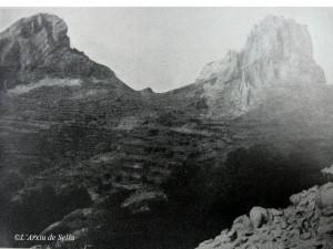 El Comptador, fotografiat per Leopoldo Soler a principis del segle XX. Poc abans, els Carlistes corrien aquestes terres...