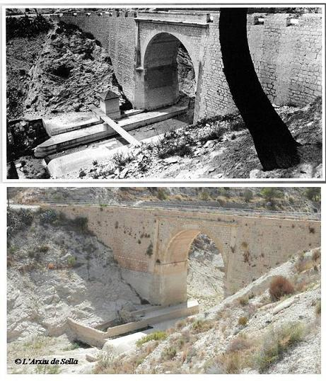 Estació d'aforament del riu Amadorio, situada baix del pont antic de la carretera. Font de la imatge superior: Mateu et al. 2012 (CHJ)