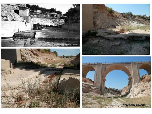Estació d'aforament del riu de Sella, situada baix de l'actual pont de la carretera. Font de la imatge antiga: Mateu et al. 2012 (CHJ)
