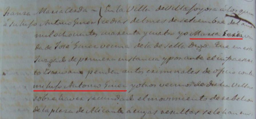 Fiança a Antonio Giner, 1844 (Arxiu Municipal de la Vilajoiosa)