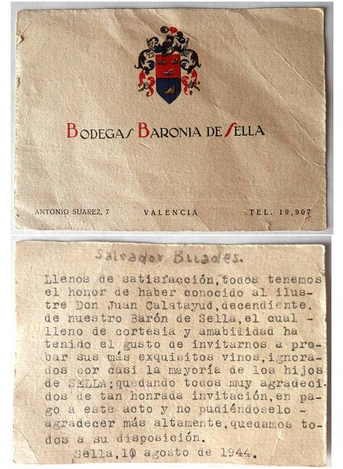 Tarjeta comercial amb una referència a la presentació de les bodegues l'any 1944 (L'Arxiu de Sella, fons Salvador Buades)