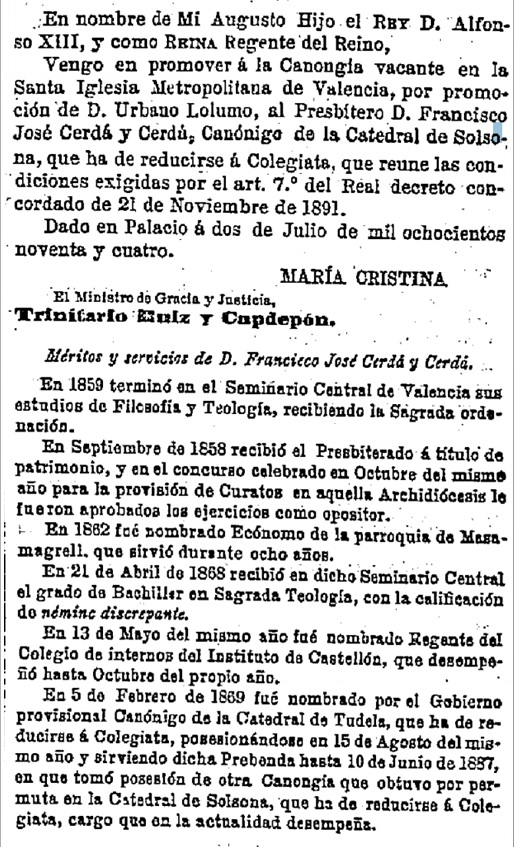Publicat en la Gaceta de Madrid, núm. 184. 3 de juliol de 1894.