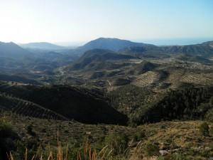 Panoràmica des del Cercat, amb el Racó ample i el camí de Relleu als peus.