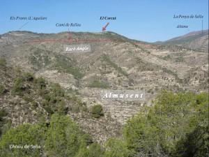 Localització del Cercat (des de la Serra de la Costa)