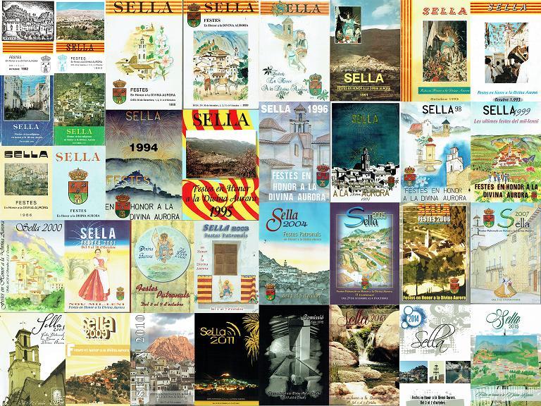 Portades dels Llibres de Festes de Sella (1983-2015), realitzat per L'Arxiu de Sella.