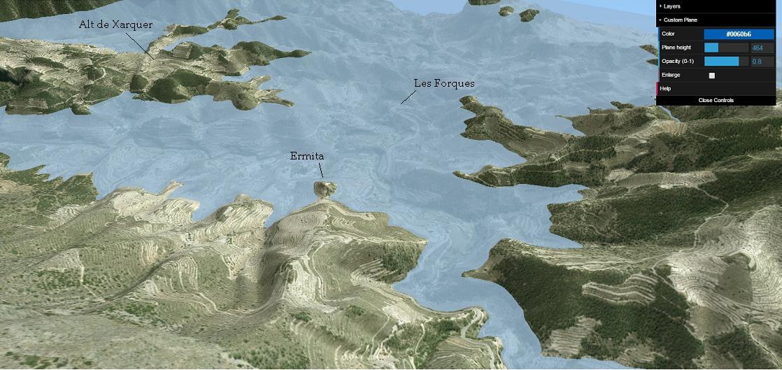 Amb 460 metres, el poble ja estaria enfonsat a excepció de l'Ermita, que seria una xicoteta peninsula. Aci teniu el panorama des de l'Alt