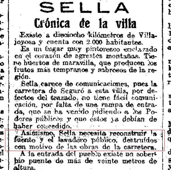 Detall d'una crònica sobre Sella de 1920, on es parla dels elements destruits per les obres de la carretera. El Heraldo de Madrid, 14 de maig de 1920.